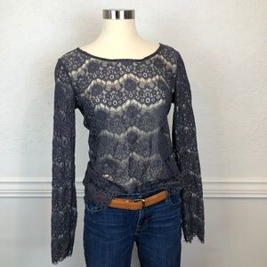 Maurices Long Sleeve Gray Lace Blouse Size Medium